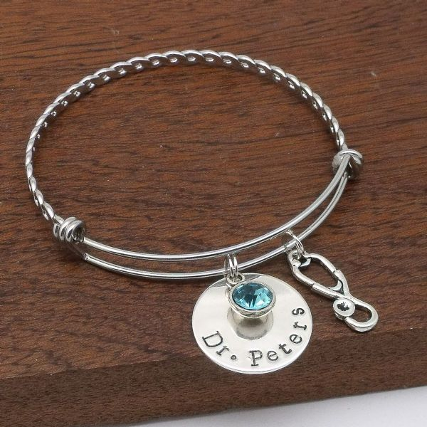 Doctor gift personalised stethoscope bracelet jewellery birthstone